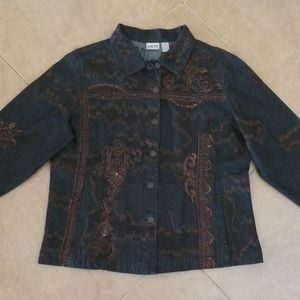 Chicos Embroidered Jean Jacket